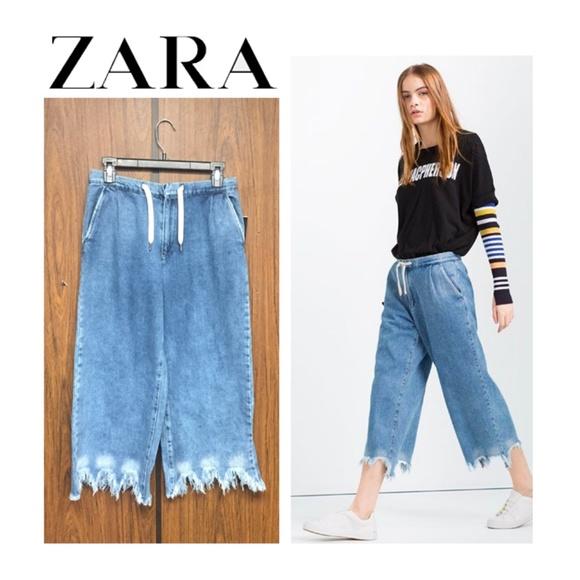 Zara Denim - NWT Zara Frayed Hem Culottes Cropped Wide Leg